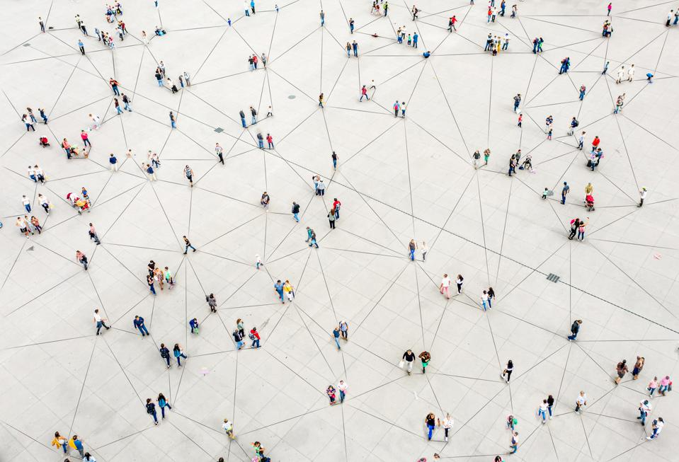 Aerial view of crowd connected by lines