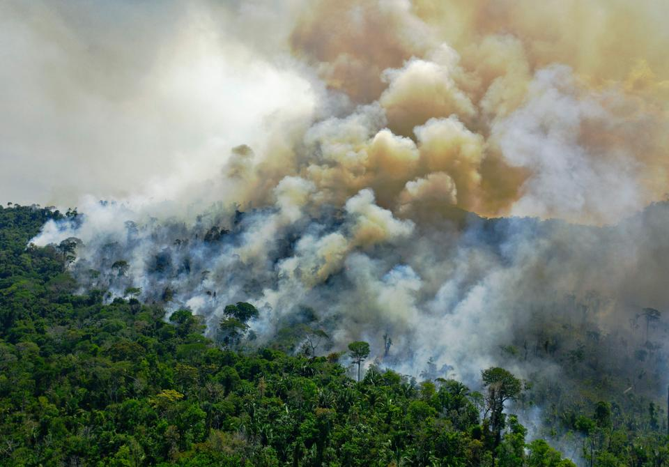 Aerial view of a burning area of Amazon rainforest in Brazil.