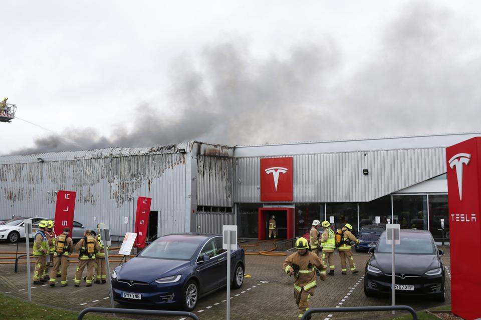 Fire At Tesla Dealership In UK