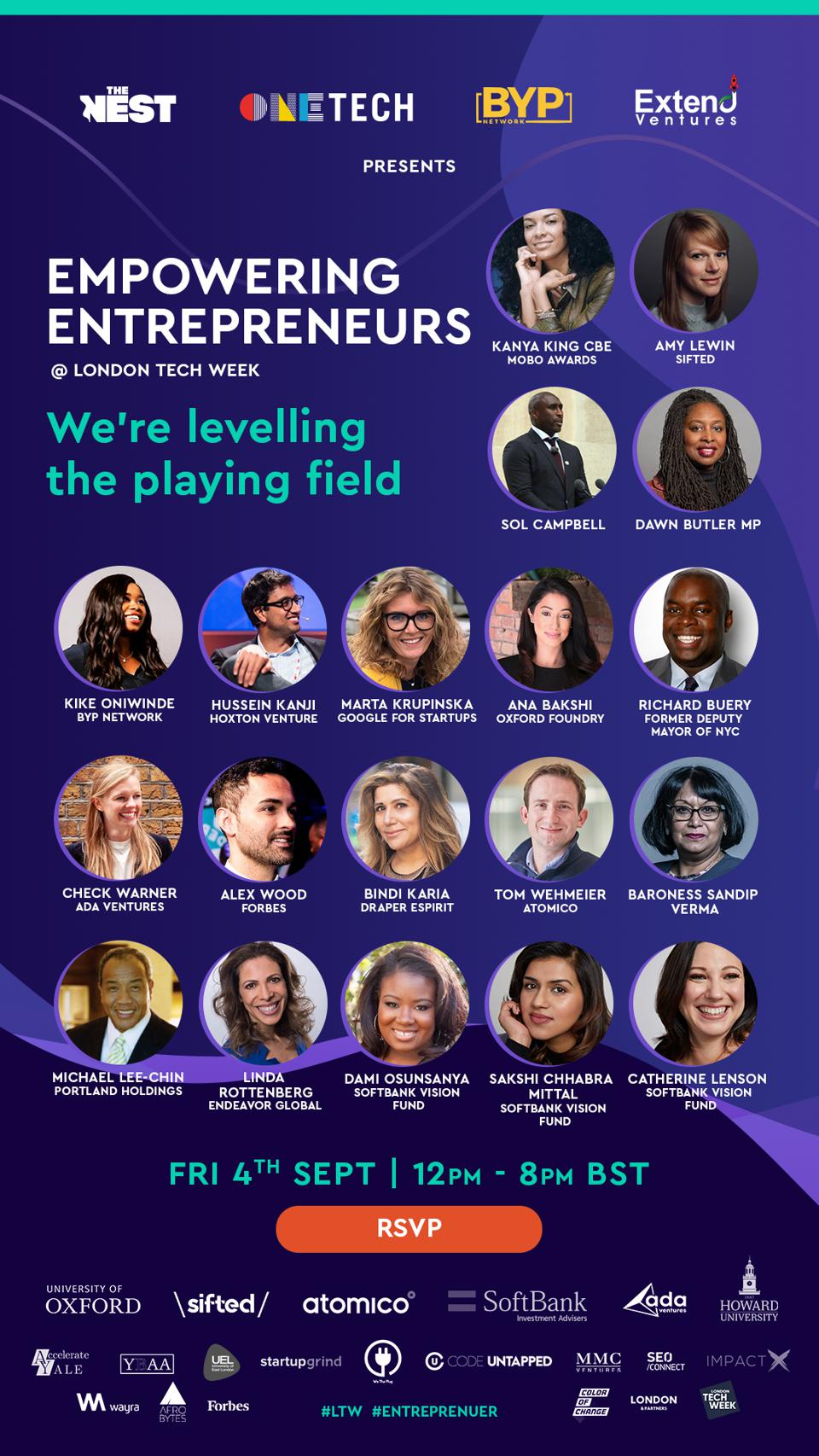 A flier for an event to empower entrepreneurs.
