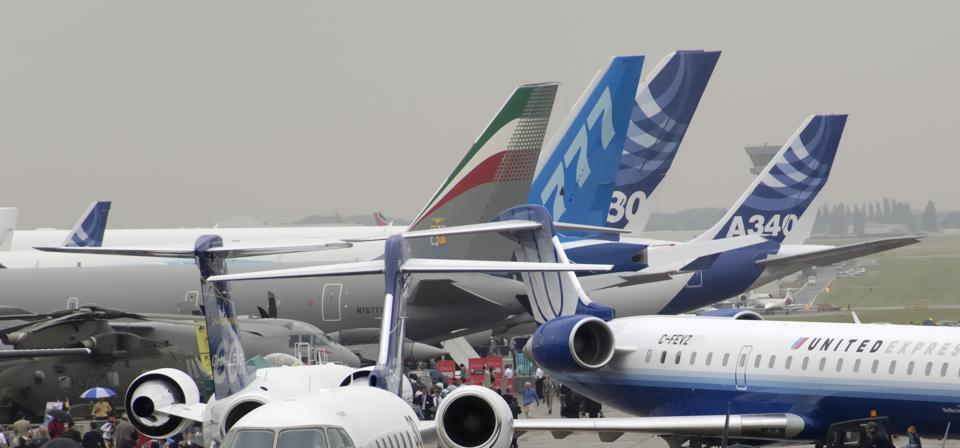 Airbus and Boeing aicraft at Paris Air show