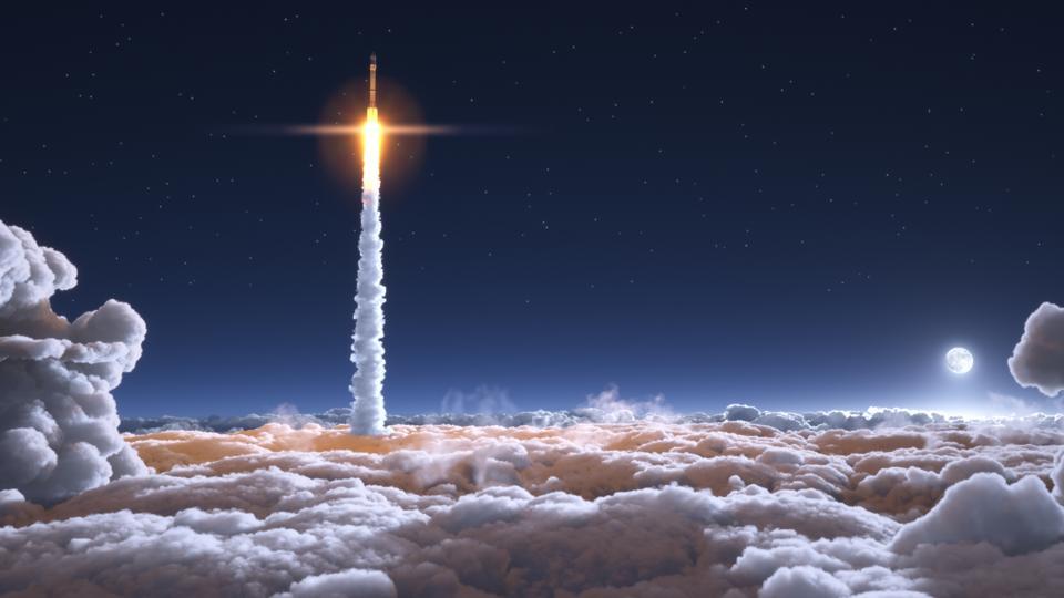 Rocket flies through the clouds