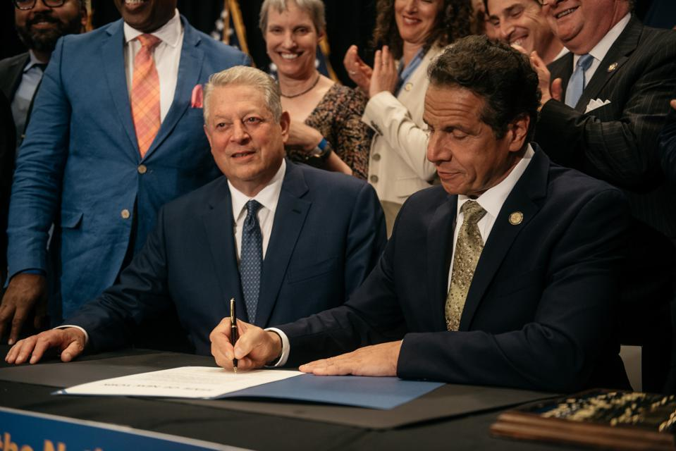New York Governor Cuomo Joined By Al Gore Announces State Investment In Offshore Wind Power