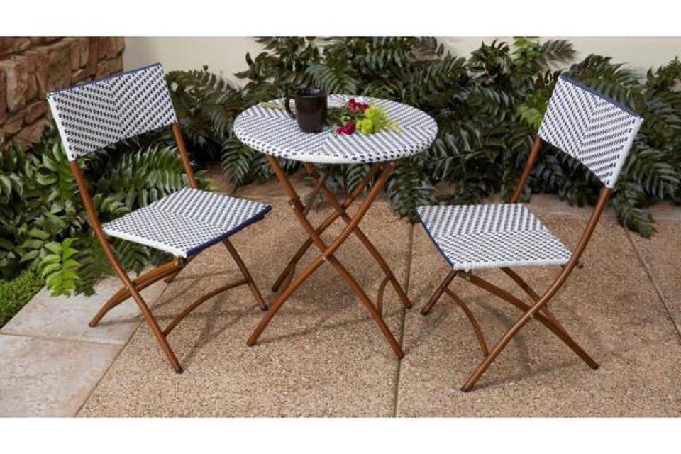 Hampton Bay French Café 3-Piece Wicker Outdoor Patio Folding Bistro Set