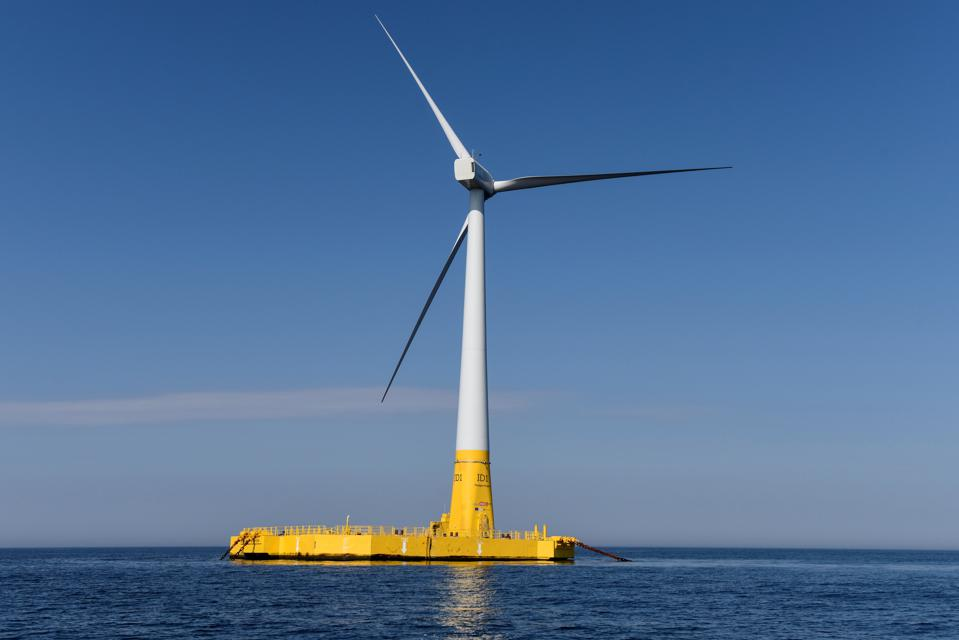 Shows France's first offshore wind turbine