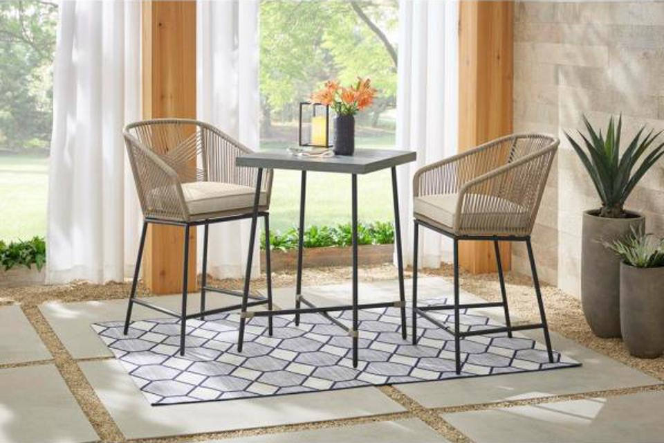 Haymont 3-Piece Steel Wicker Outdoor Patio Bistro Set with Beige Cushions