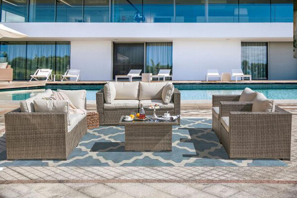 Sol 72 Outdoor™ Wragby Rattan Sectional Seating Group with Cushions