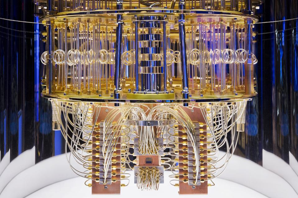 Image of the interior of IBM's Quantum Computer