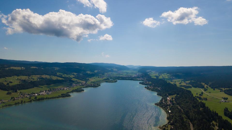 Aerial view of Vallée de Joux lake, Dent de Vaulion