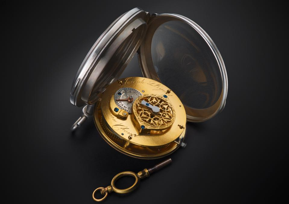 Built by Joseph Piguet in 1769, this is the oldest pocket watch in the exhibit