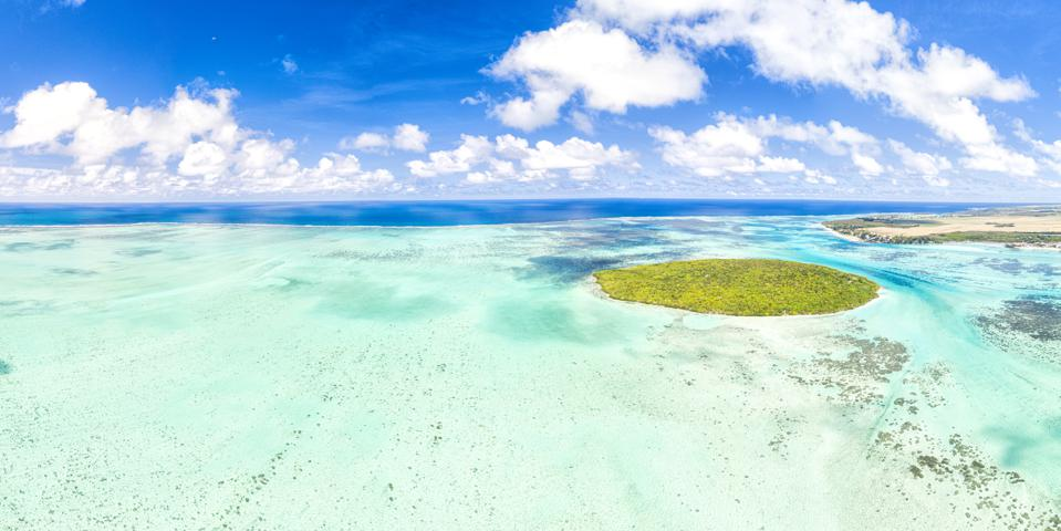 Tropical atoll island and coral reef, aerial view, Mauritius