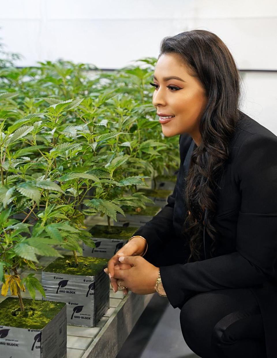 with her plants