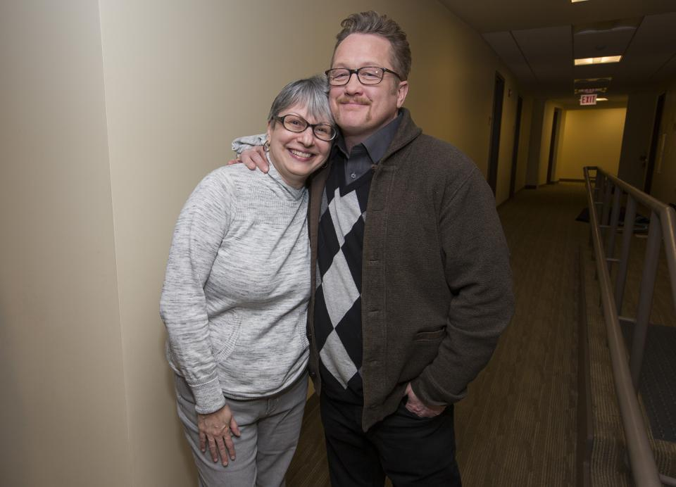 (Left to right) Co-producer Lucia Mauro and actor Christian Stolte pose during filming of the indie film Rain Beau's End. March 2019 in Chicago, IL (Photo by Barry Brecheisen)