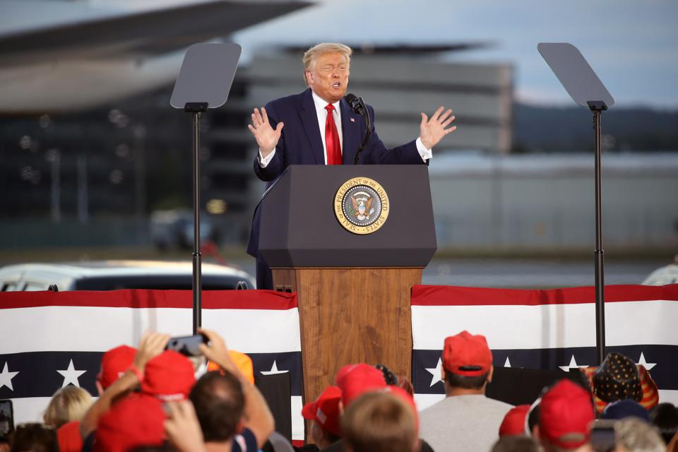 President Trump Holds Campaign Rally In New Hampshire
