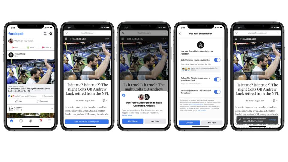 Facebook's new news product allows you to link paid news subscriptions to your Facebook account.