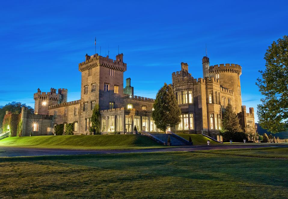 A majestic castle at twilight
