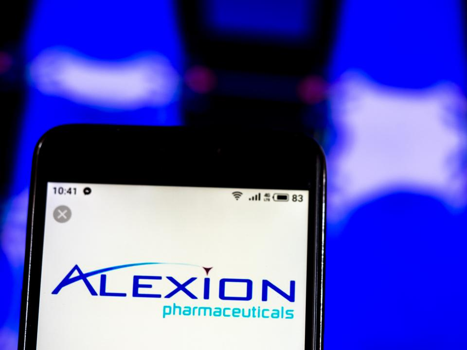 Alexion Pharmaceuticals company logo seen displayed on a