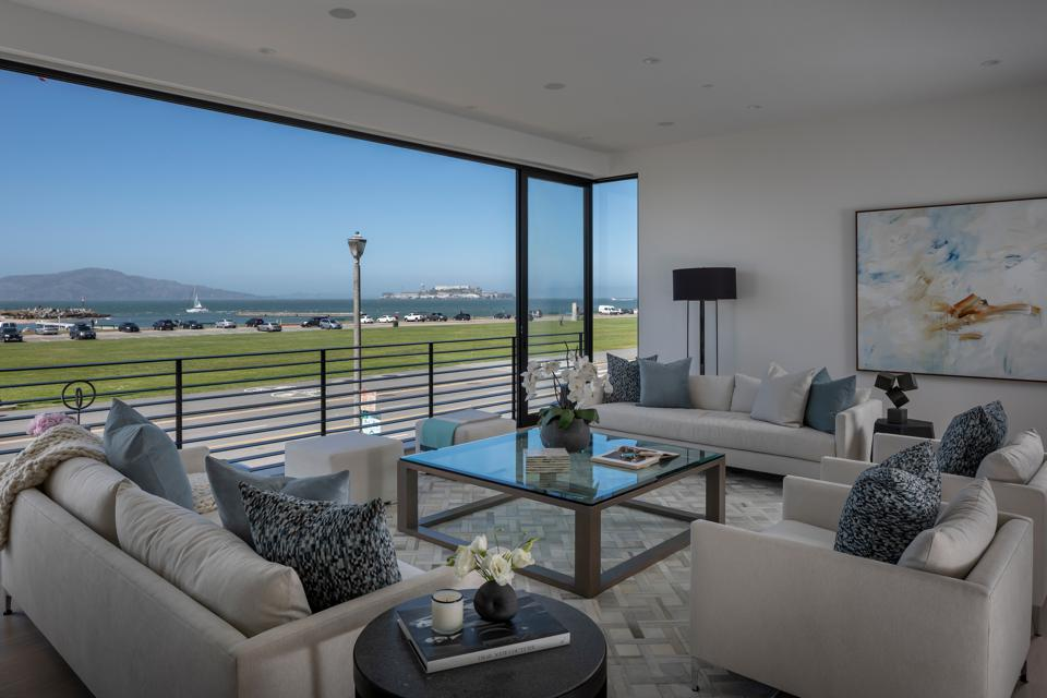 Living room with view of the San Francisco Bay