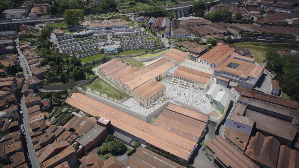 An aerial rendering of World of Wine in Vila Nova de Gaia, Portugal