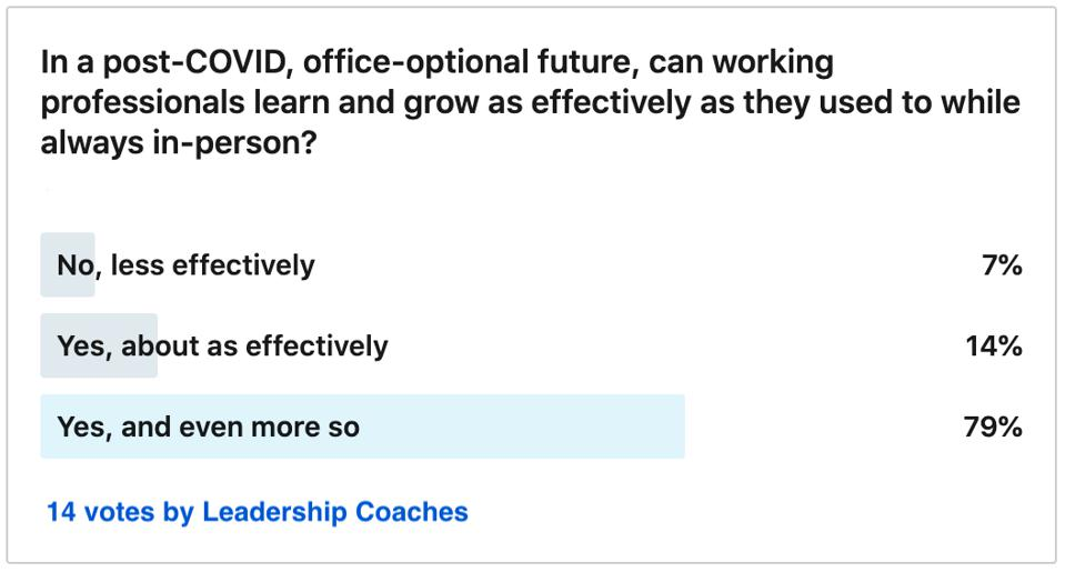 11 out of 14 coaches said that office-optional work enables more opportunity for growth