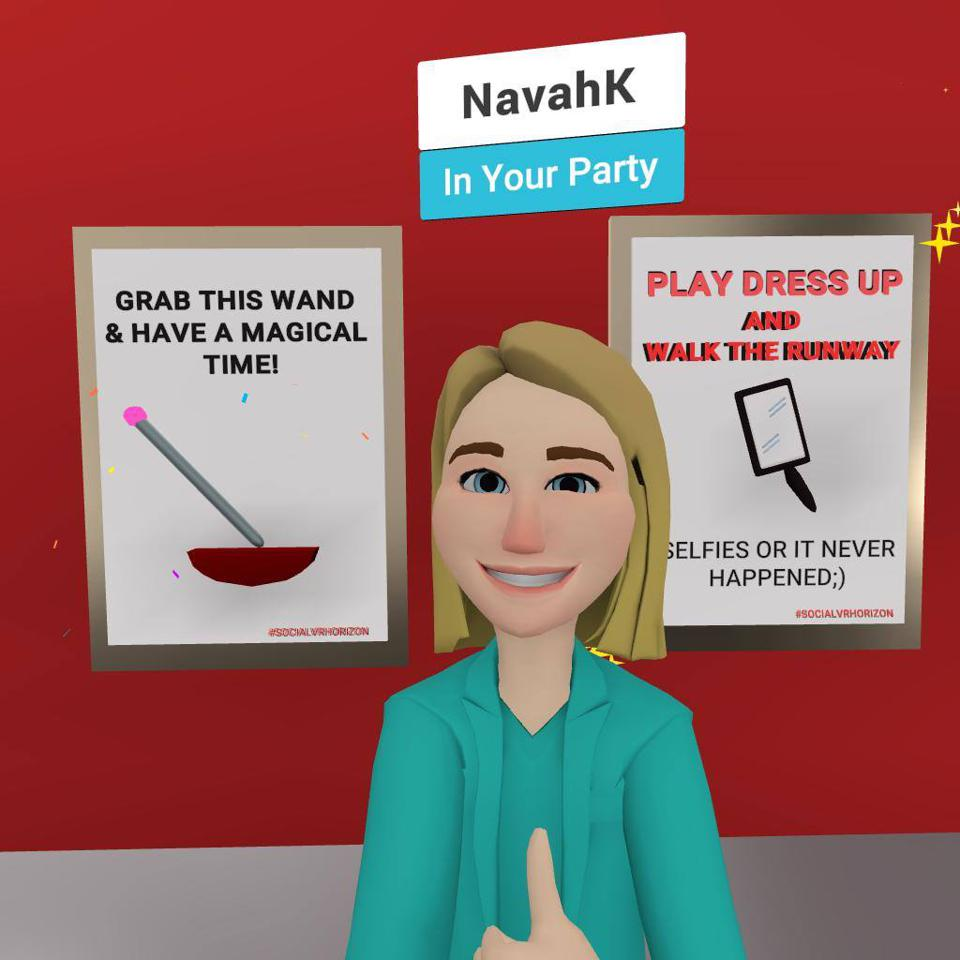 Woman's avatar in virtual reality doing a thumbs up