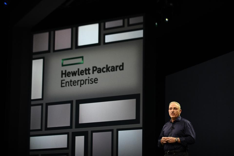 Antonio Neri, president and chief executive officer of HPE, speaks during the HPE Discovery CIO Summit in Las Vegas, Nevada, U.S.