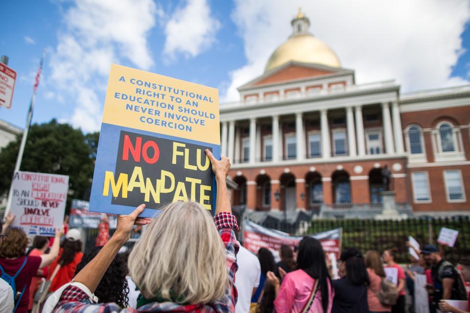 Rally Against Flu Vaccine Mandate Draws Hundreds In Massachusetts