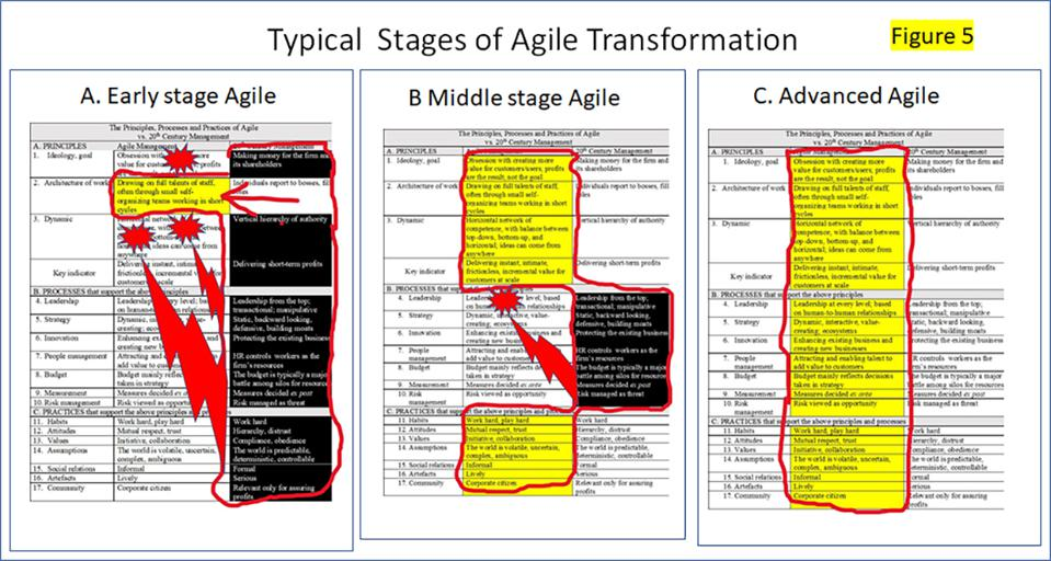 Three typical stages of the Agile journey