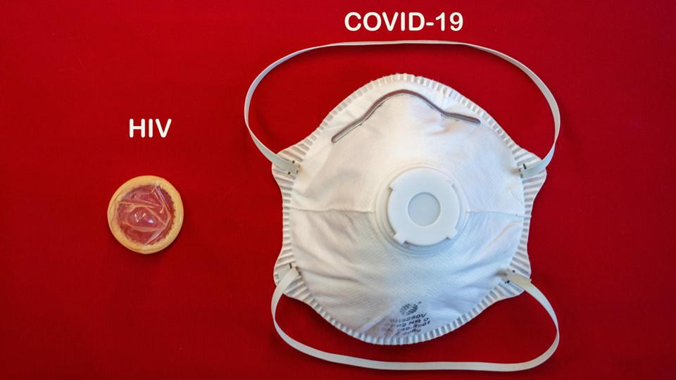 Using a condom can block HIV/AIDS, wearing a mask slows the spread of SARS-CoV-2/Covid-19.
