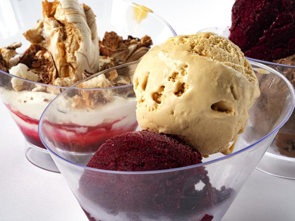In this photo illustration, ice cream (banana, chocolate,...