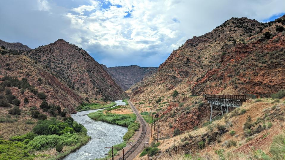 A photo of one of Cañon City's most recognizable hiking trails and rafting streams