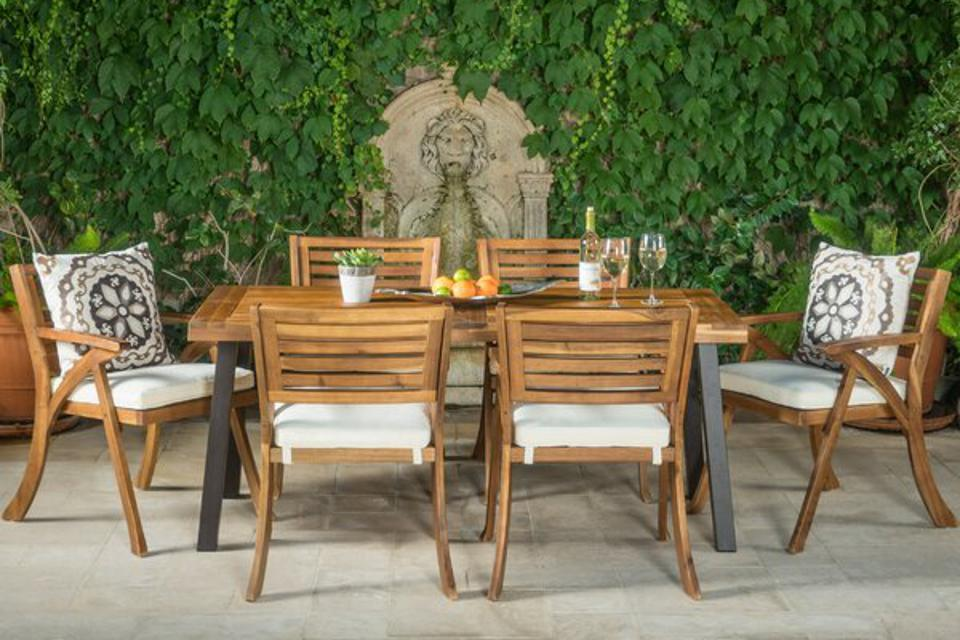 Langley Street 7 Piece Dining Set with Cushions