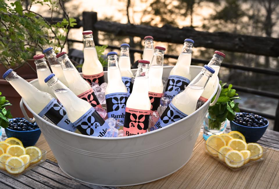 Bottles of Bimble in a tub of ice