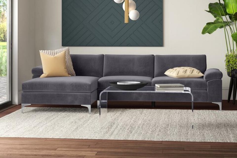 Mercury Row Martello 101″ Velvet Left Hand Facing Sofa & Chaise
