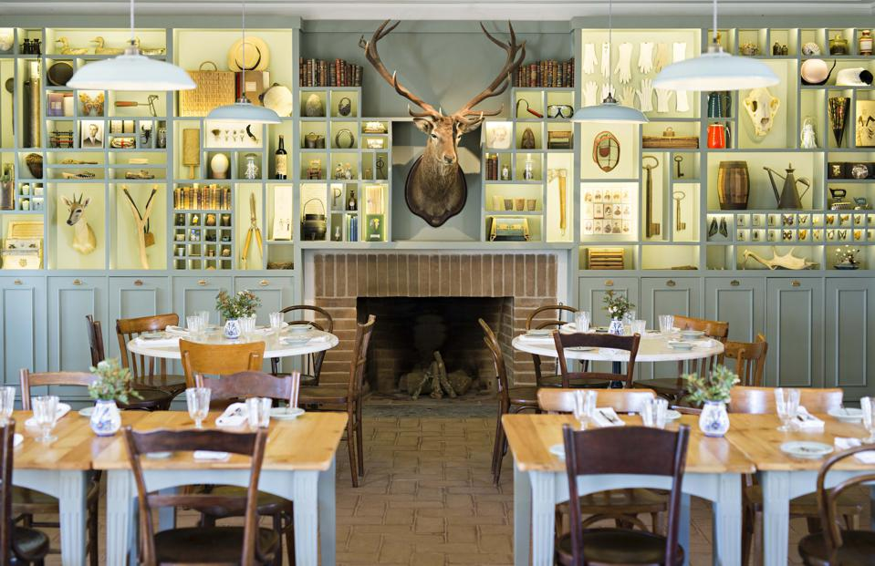 One wall of the restaurant at this hotel in the Alentejo is a cabinet of curiosities.