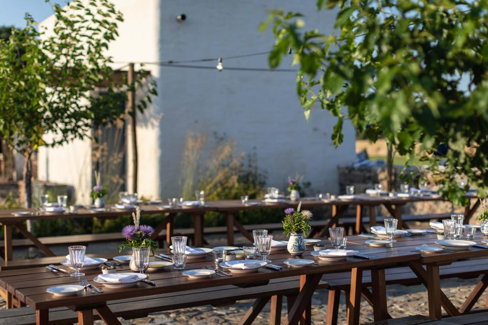 The restaurant at São Lourenço do Barrocal in Portugal is completely open-air.