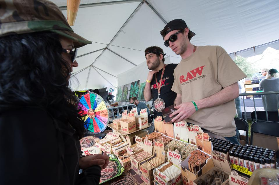 WASHINGTON, DC - APRIL 23:  Raw Rolling Papers vendors were giv