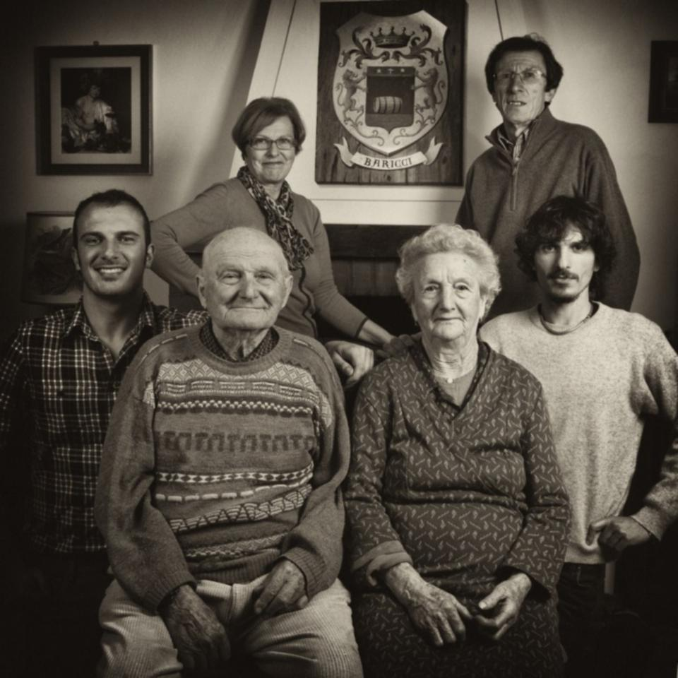 Baricci Family Nello Baricci is second on the left with Francesco Buffi next to him and Federico Buffi on the far right side