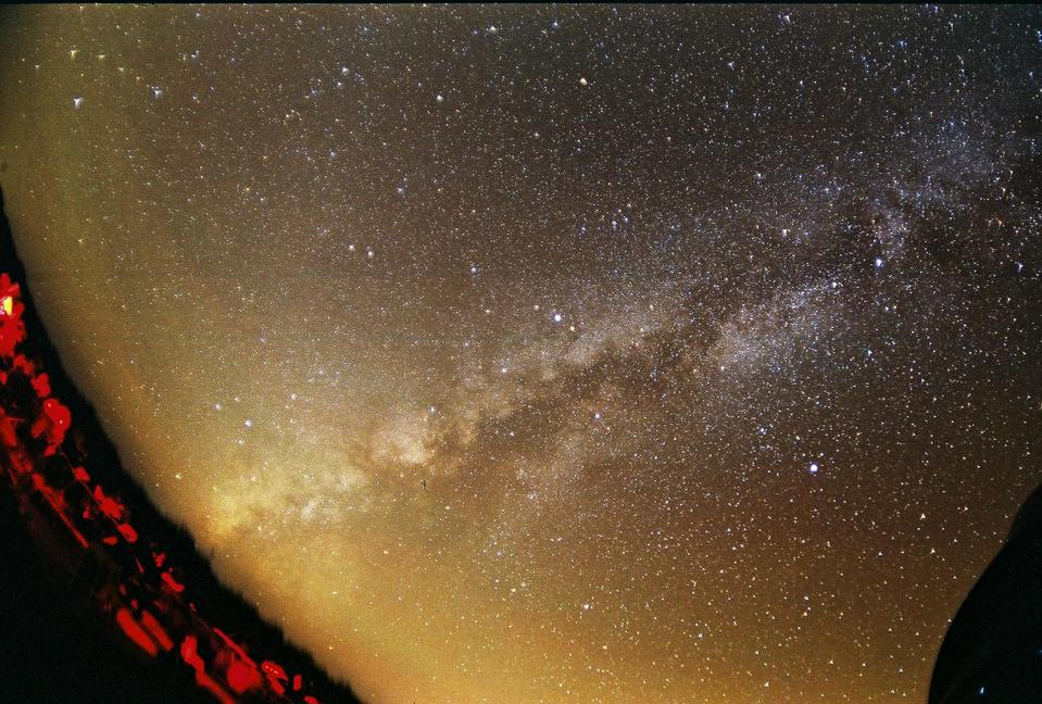 The Milky Way, as viewed from a fisheye lens, in late summer from the Northern hemisphere.