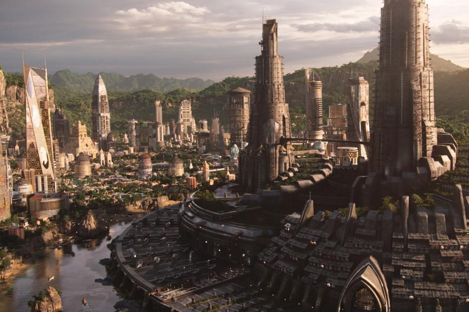 A high-tech city in Wakanda.