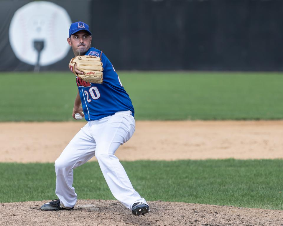 Greg Modica pitching in an August 9, 2020 game for the New York Boulders of the independent All-American Baseball Challenge league.