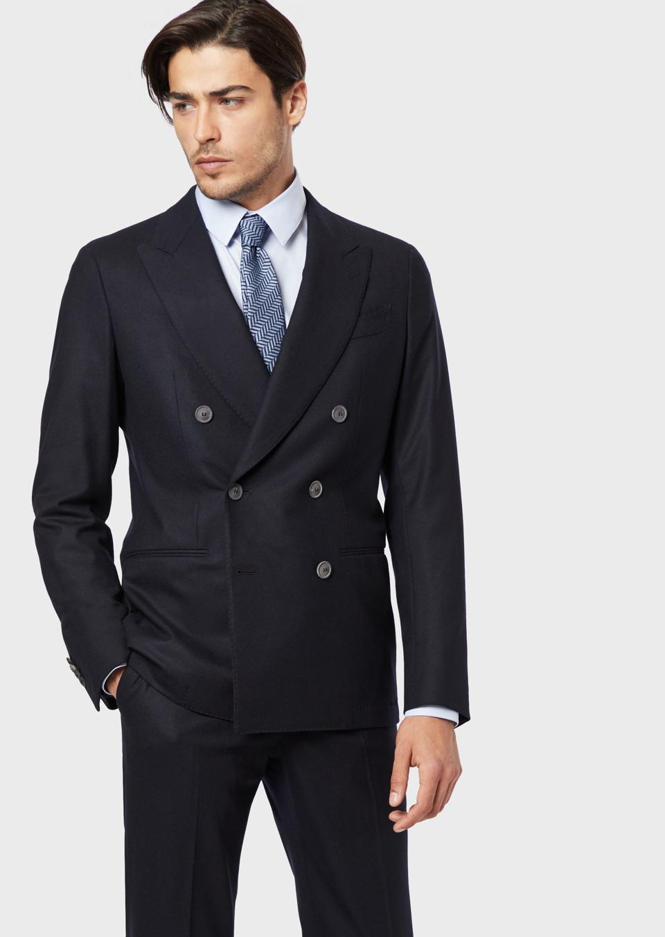 Formal and Daily Jacket Men/'s Dark Blue Double Breastered Slim Fit Casual All Seasons Jacket