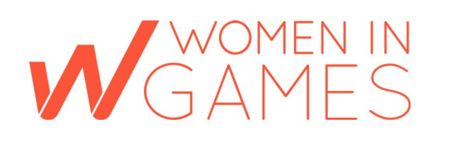 The Women in Games logo is coral against a white background