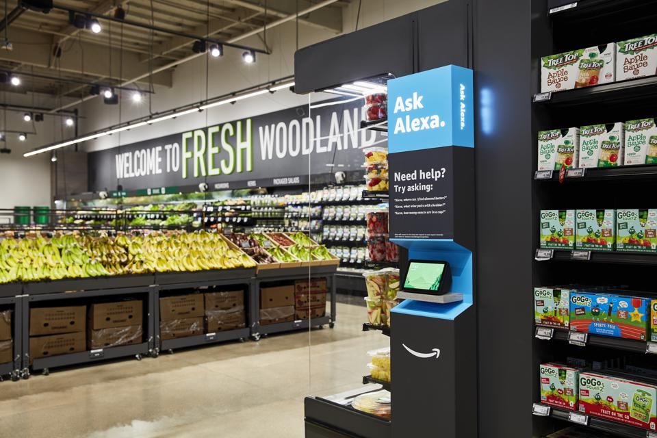 Amazon has placed Alexa voice-assistance kiosks throughout its new Amazon Fresh store.
