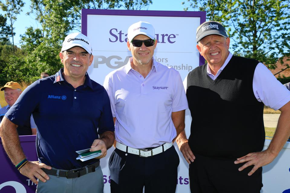 Staysure founder and CEO Ryan Howsam with Paul McGinley and Colin Montgomerie