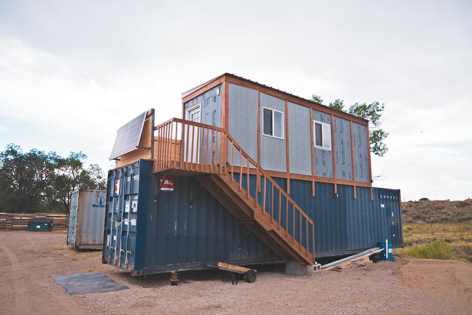 A prototype of Reed's proposed net-zero energy, off-grid house made from shipping containers