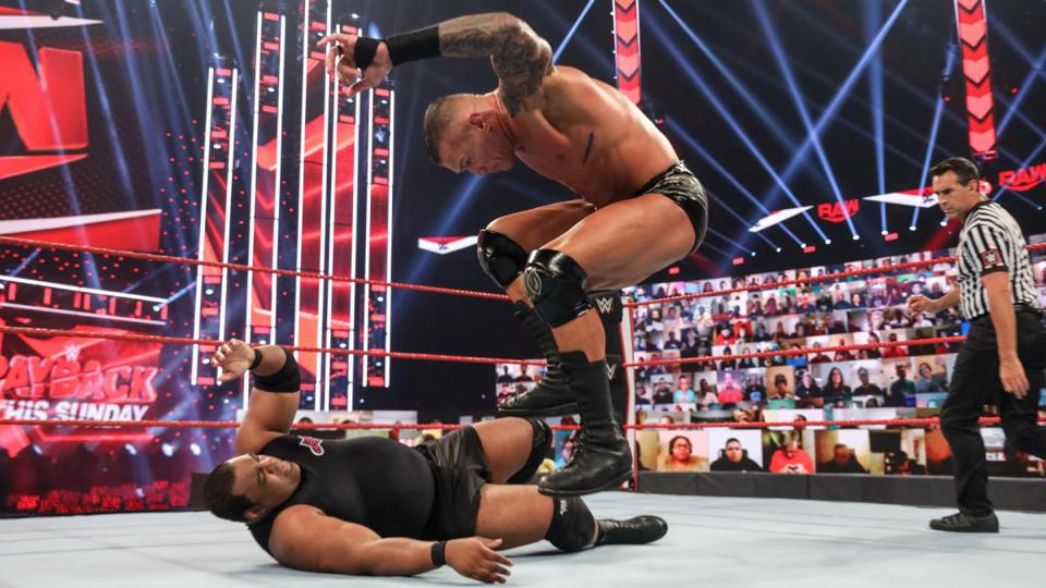 Randy Orton faced Keith Lee and Seth Rollins in a Triple Threat match to crown the No. 1 Contender for the WWE Championship.