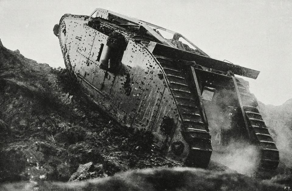 British tank in action, France, World War I, from L'Illustrazione Italiana, Year XLIV, No 50, December 16, 1917