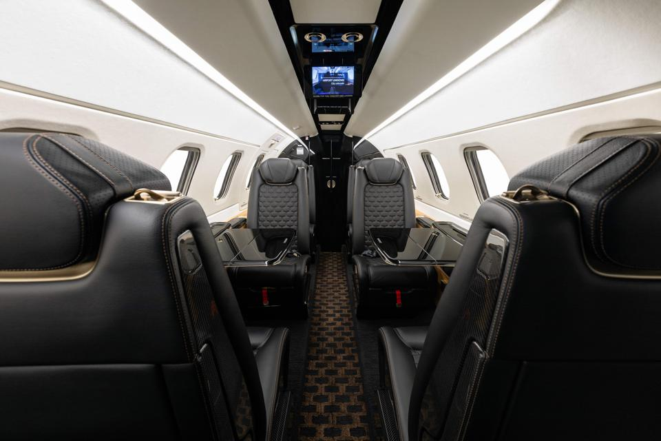 Luxurious private jet interior