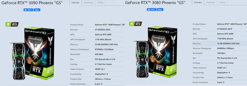 Gainward's RTX 3090 and RTX 3080 models with custom coolers have been spotted online